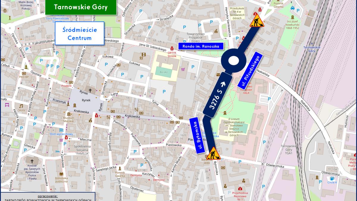 Plan miasta z zaznaczonym odcinkiem drogi do remontu