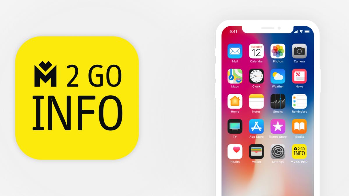 Grafika nagłówkowa logo M2GOinfo i pulpit smartfona